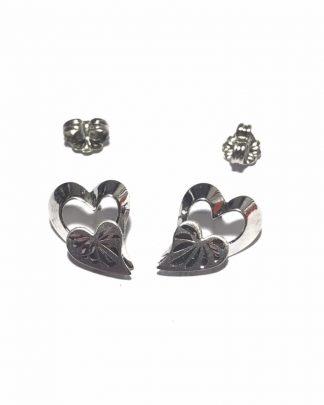 Vintage BEAU Sterling Silver Double Heart Stud Earrings - Post Earrings - 925
