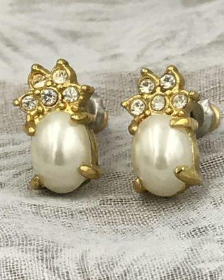 Pineapple Pearl Crystal Earrings`