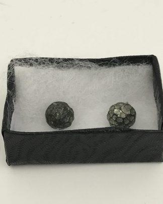 Hammered Design Black Post Earrings