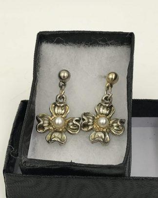 3-D Flower, Pearl Center, Two Tone Post Earrings