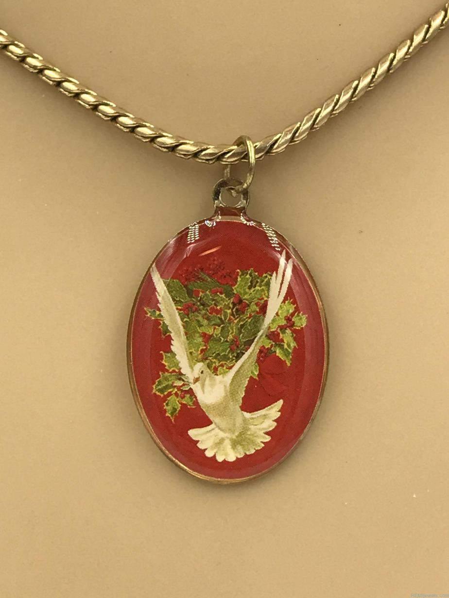 Dove Pendant Serpentine Chain Gold Tone Necklace