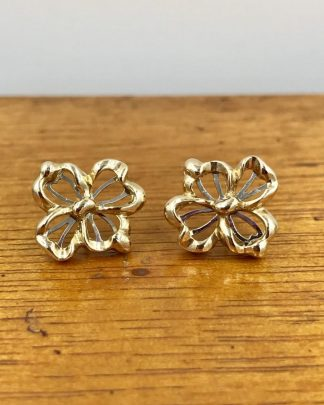 Two Tone Four Leaf Clover Earrings - Good Luck
