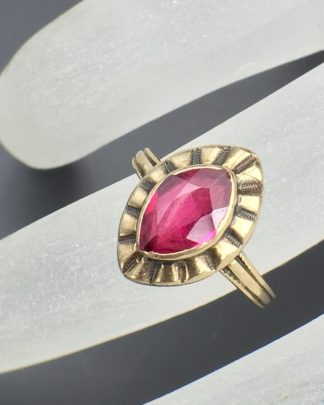 Art Deco Ruby Vintage Gemstone, 10k Solid Yellow Gold