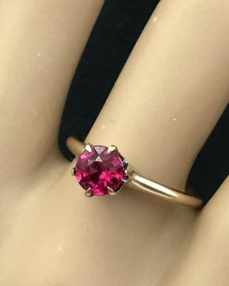 Vintage Yellow Gold 14k Ring Brilliant RUBY RED Gemstone
