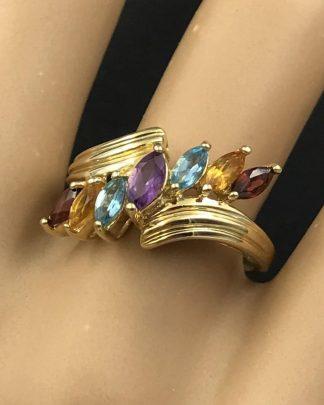 Amethyst Topaz Citrine Garnet Gemstone Vintage Yellow Gold Ring