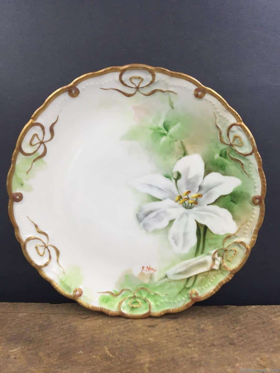 Hand Painted Plates : Beautiful antique italy hand painted plate fine china