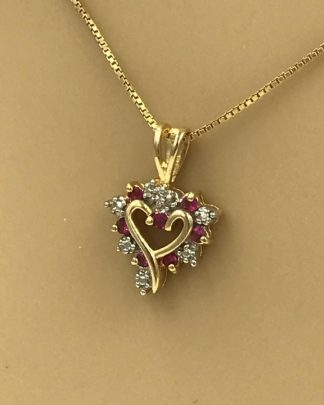 Sterling Silver Red Gemstone Heart Gold Tone Necklace