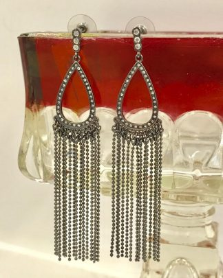 Black Teardrop Bead Dangle Round Crystals Earrings