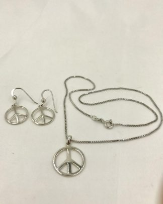 Vintage Sterling Silver Designer Peace Charm Jewelry Set