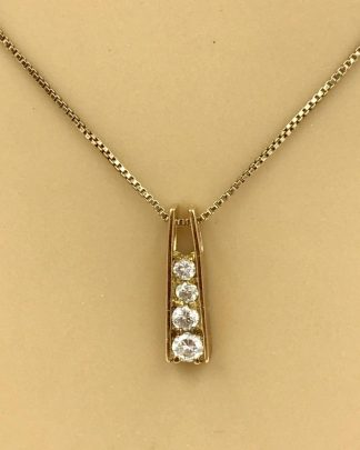 Vintage Sterling Silver Cubic Zirconia Dangle Charm Necklace