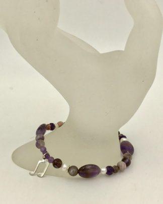 Purple Bead Sterling Silver Music Note Charm Bracelet
