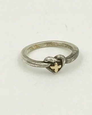 Cross Heart Ring Love Two-tone Silver Gold Band Sterling Silver