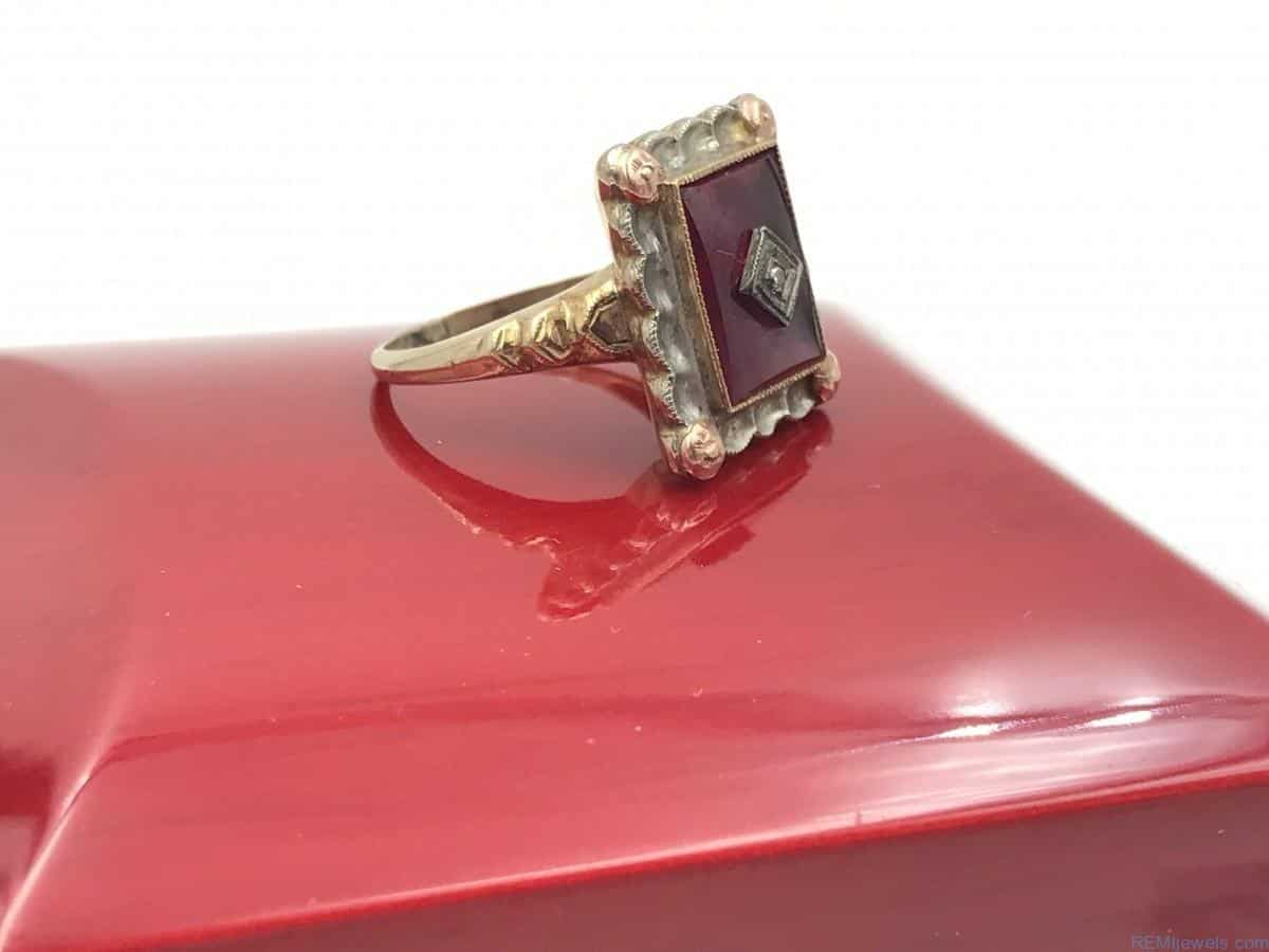 Ruby Diamond Vintage 10K Rose Yellow White Gold Ring REMIjewels