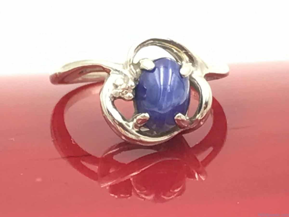 BLUE STAR SAPPHIRE CABOCHON DIAMOND 10K WHITE GOLD RING