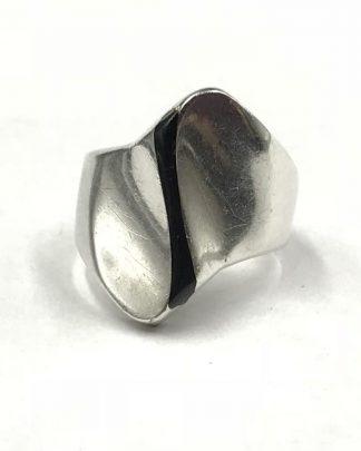 Vintage Sterling Silver Mexico Modernistic Geometric Black Stripe Ring