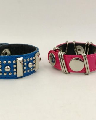 Rebecca Minkoff Leather Bracelets Blue Pink Silver