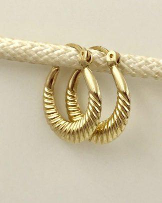 14K Yellow Gold Ribbed Hoop Designer Earrings