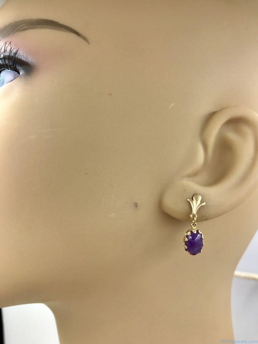 14k Yellow Gold Fleur De Lis Amethyst Pierced Dangle Earrings Signed Zz 585