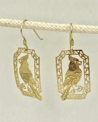 WILD BRYDE Cardinal Dangle Earrings Gold Tone