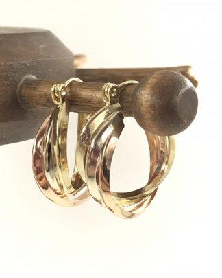 Designer Candela Vintage Hoop Earrings 14K Yellow Gold Signed