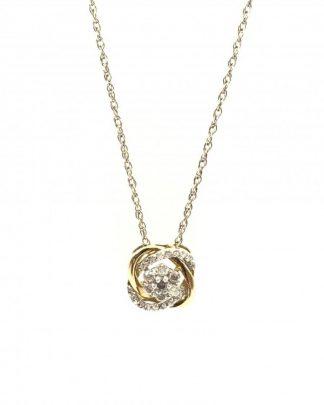 10K Yellow Gold Interlocking Diamond Round Flower Cluster Charm Necklace