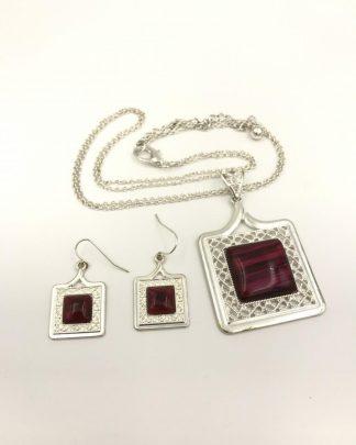Silver Tone Red Square Filigree Jewelry Set