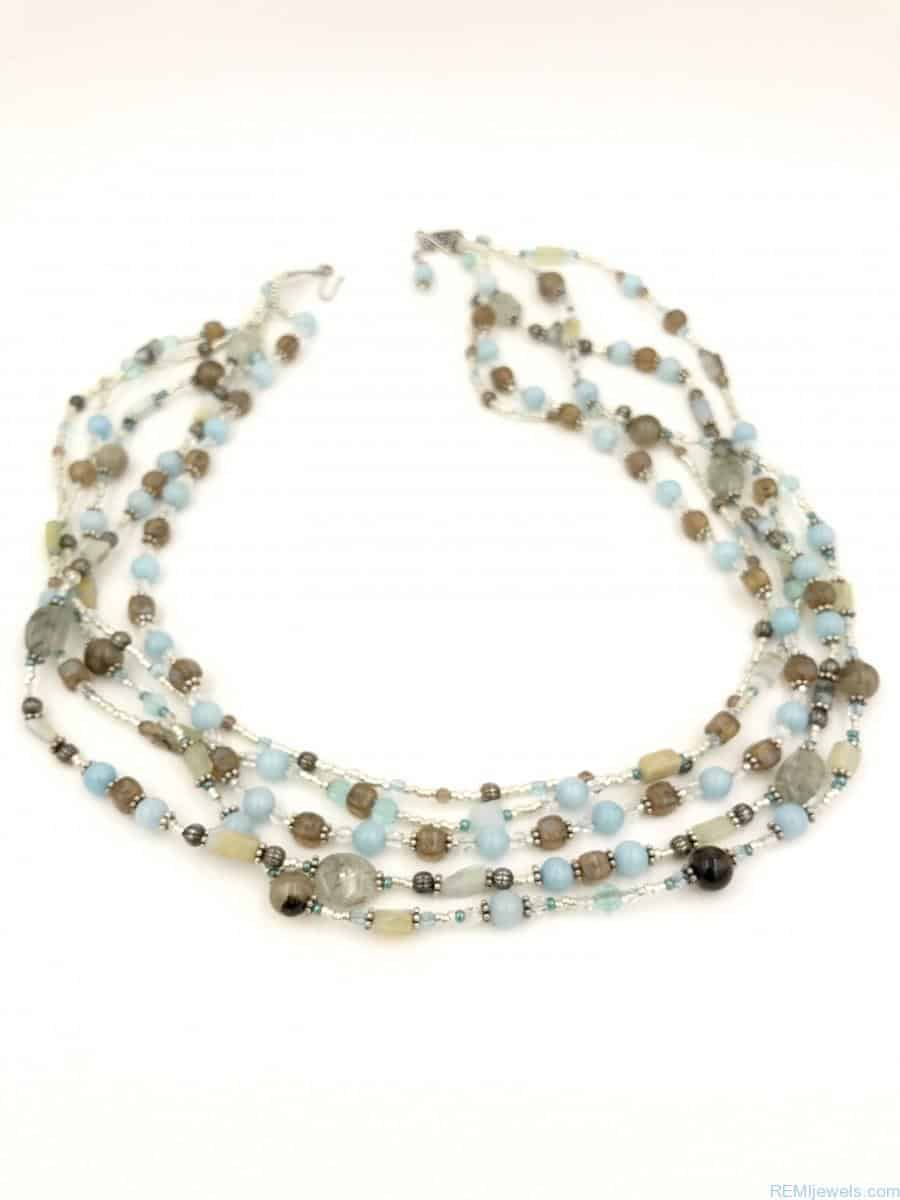 Zales Jewelry Necklaces >> Sterling Silver Blue Brown Gemstone Bead Multi-strand Necklace - Vintage
