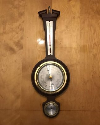 Vintage Mahogany Wood Taylor Banjo Wall Hanging Weather Station Thermometer