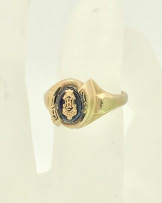 Vintage 10K Yellow Gold Blue Stone Jostens Womens Class Ring 1973 (4.52g) Size 7