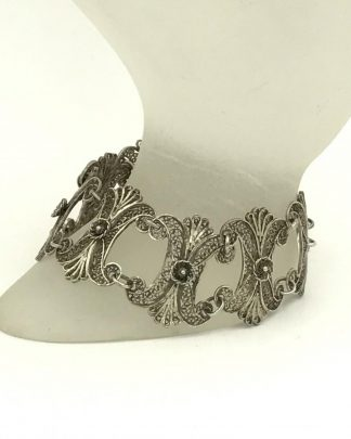 Antique Middle Eastern Sterling Silver Intricate Filigree Flower Panel Links