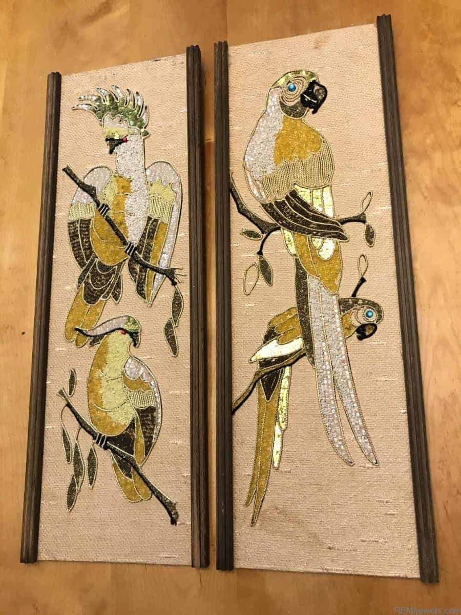 Matching Set, Vintage Parrot Gravel Art Wall Hanging Picture