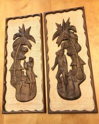 Vintage Mid Century Tiki Style Carved Wall Art Wood Burlap