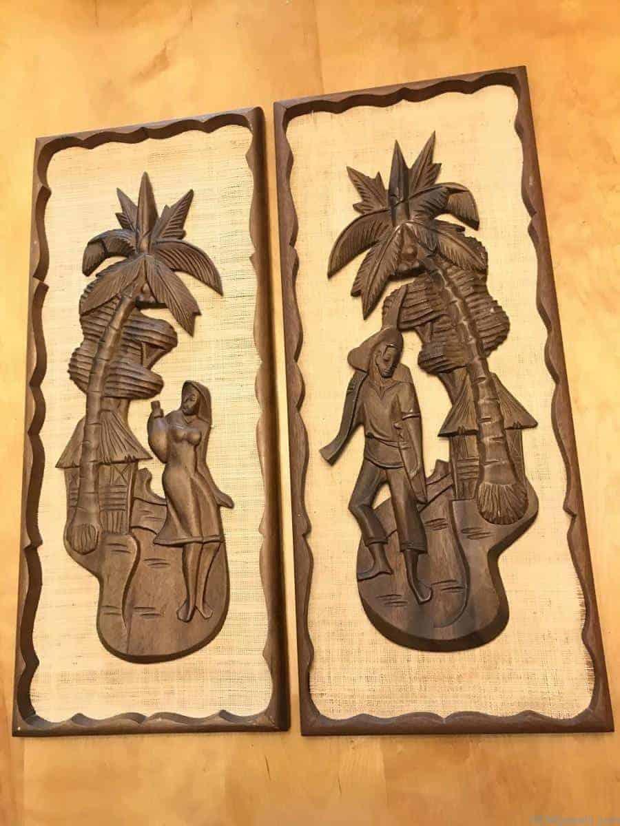 Vintage Mid Century Tiki Style Carved Wall Art Wood Burlap ...