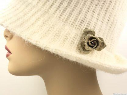 Signed Les Bernard Sterling Vermeil Rose Brooch Pin Vintage