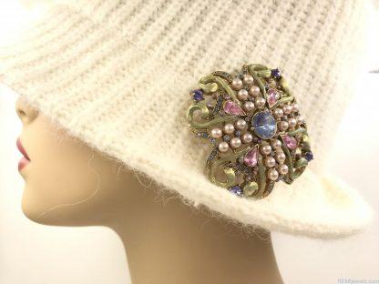 Vintage Rhinestone Pin Brooch Seed Pearls