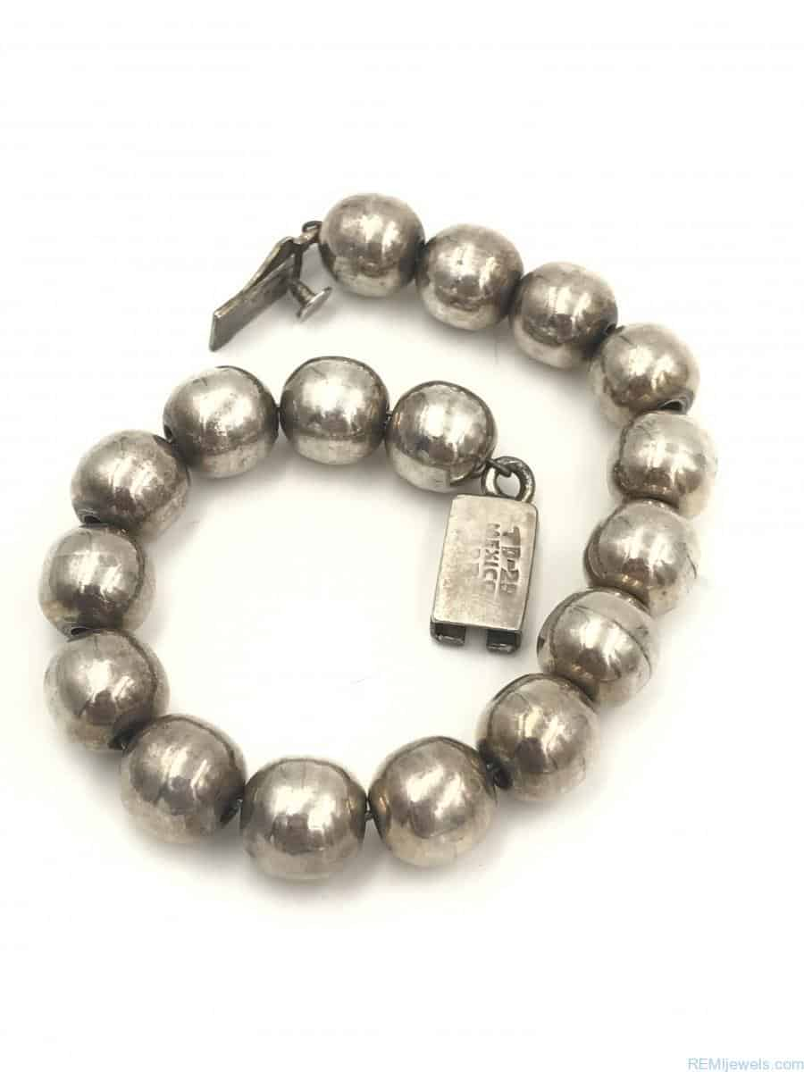 Vintage Taxco Sterling Silver Ball Bead Bracelet 8 ...