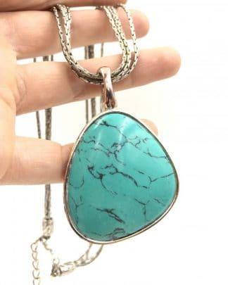 Premier Design Chunky Turquoise Green Pendant Multi-strand Necklace