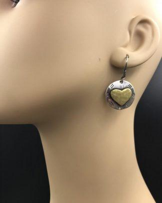 Vintage Sterling Silver Heart Two Tone Dangle Earrings