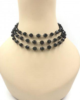Vintage Sterling Silver Multi-strand Black Bead Choker Necklace