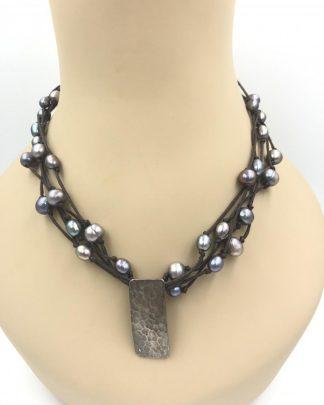 Designer Tica Rosa Sterling Silver Leather Multi-strand Pearl Necklace