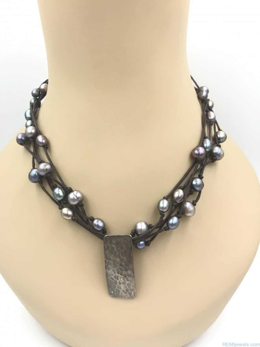 Zales Jewelry Necklaces >> Designer Tica Rosa Sterling Silver Leather Multi-strand Pearl Necklace