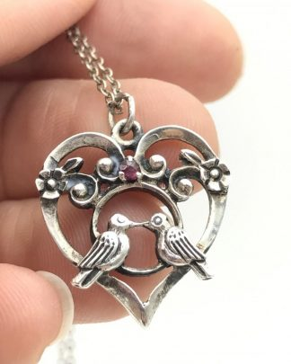 Franklin Mint Sterling Silver Love Birds Kissing Heart Ruby Necklace