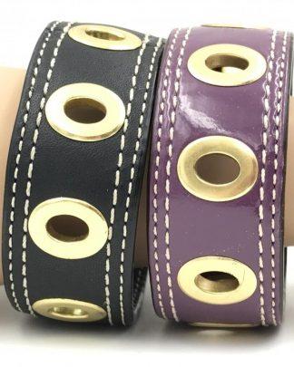 Coach Leather Grommet Bracelets Gold Hardware