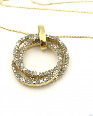 Sterling Silver 1.0 Carat Diamond Trinity Rings Pendant Necklace