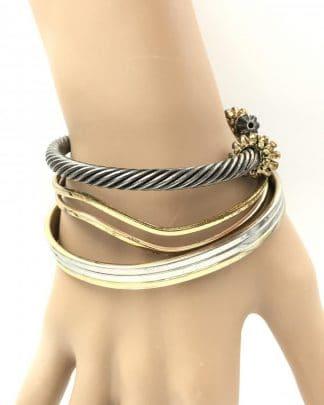 Vintage Cuff Bracelets Gold Silver Tone 24K Electroplate
