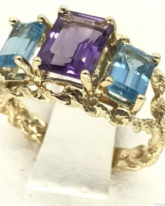 Yellow Gold 14k Wire Wrapped Ring Blue Topaz Amethyst Gemstone