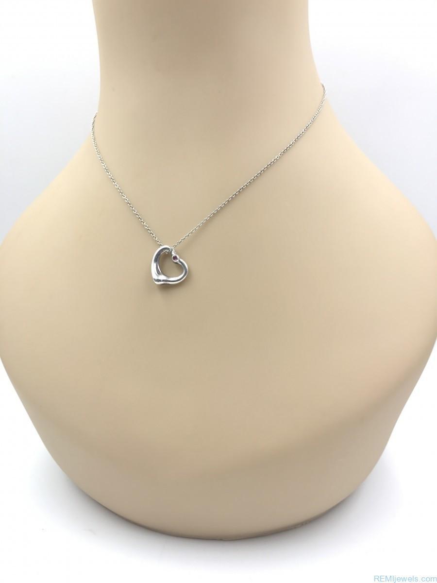 Tiffany co peretti open heart pink sapphire 925 charm necklace tiffany co peretti open heart pink sapphire 925 charm necklace aloadofball Images