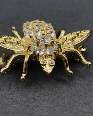 Vintage Sterling Silver Rhinestone Bumblebee Bug Insect Vermeil PIN Brooch