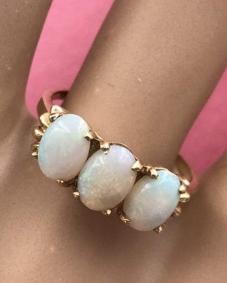Vintage Three Stone Oval Cabochon Opal Ring 14K Yellow Gold