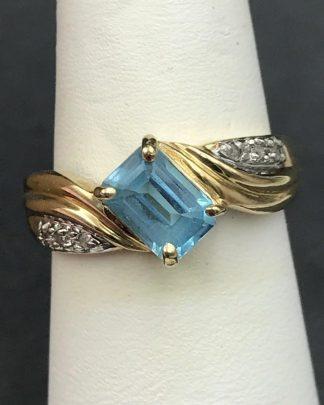 Blue Topaz Diamond Ring 10K Yellow Gold Women's Vintage